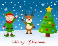 Kerstboom, Groen Elf & Leuk Rendier Stock Foto