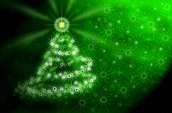 Kerstboom. Groen magisch licht Stock Fotografie