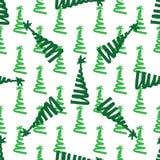 Kerstboom groene het schilderen inkt doodle Naadloos patroon stock foto