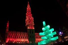 Kerstboom in Grote Plaats, Brussel Royalty-vrije Stock Fotografie