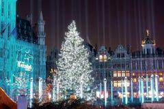 Kerstboom in Grote Plaats, Brussel, België Royalty-vrije Stock Afbeeldingen