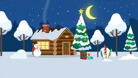 Kerstboom in het bos royalty-vrije illustratie
