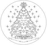 Kerstboom het kleuren mandala Royalty-vrije Stock Afbeelding