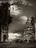 Kerstboom in het vervloekte dorp Stock Foto