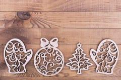 Kerstboom Houten Decoratie Royalty-vrije Stock Afbeelding
