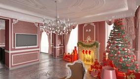 Kerstboom in huis Royalty-vrije Stock Afbeeldingen