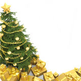 Kerstboom isoletd wordt gezien die van Royalty-vrije Stock Foto
