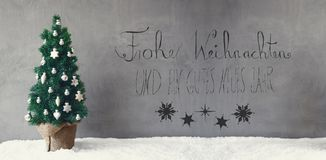 Kerstboom, Kalligrafie, de Middelen Gelukkig Nieuwjaar van Gutes Neues Stock Foto