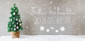 Kerstboom, Kalligrafie, de Middelen Gelukkig Nieuwjaar van Gutes Neues, Sneeuwvlokken Stock Fotografie