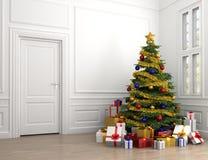 Kerstboom in klassieke ruimte Royalty-vrije Stock Foto