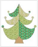 Kerstboom in lapwerkstijl Stock Foto
