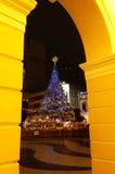 Kerstboom in Largo do Senado, Macao Royalty-vrije Stock Afbeelding