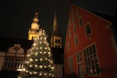 Kerstboom in Lemgo Duitsland royalty-vrije stock afbeeldingen