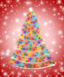 Kerstboom in lichten Royalty-vrije Stock Fotografie