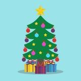 Kerstboom met ballen Stock Illustratie