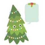 Kerstboom met bellentoespraak. Kerstmisachtergrond Stock Afbeeldingen