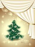 Kerstboom met bogen, sterren, slinger, licht, D royalty-vrije illustratie