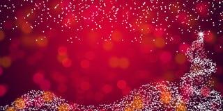 Kerstboom met DE-geconcentreerd lichten Rood Abstract behang als achtergrond Royalty-vrije Stock Foto's