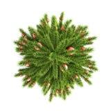 Kerstboom met de hoogste mening van Kerstmisballen 3d Royalty-vrije Stock Foto's