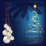 Kerstboom met decoratie Royalty-vrije Stock Foto's