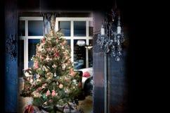 Kerstboom met decoratie Stock Afbeelding