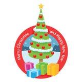 Kerstboom met decoratie en giften stock foto's