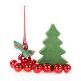 Kerstboom met decoratie en Kerstmisballen Royalty-vrije Stock Afbeeldingen