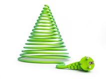 Kerstboom met elektrische kabels Stock Afbeeldingen