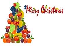 Kerstboom met fruit royalty-vrije illustratie