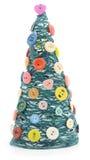 Kerstboom met garen en knopen Stock Foto