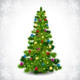 Kerstboom met gekleurde ballen Stock Afbeelding