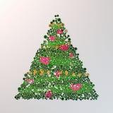 Kerstboom met gekleurde knopen bij het witte 3d teruggeven als achtergrond Royalty-vrije Stock Foto's