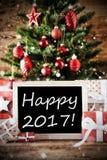 Kerstboom met Gelukkige 2017 Stock Afbeeldingen