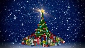 Kerstboom met giftdozen stock footage