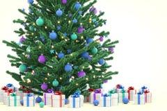 Kerstboom met giftdozen Stock Fotografie