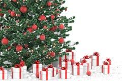 Kerstboom met giftdozen Stock Afbeelding