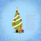 Kerstboom met giften. Stock Afbeelding
