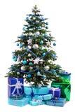 Kerstboom met giften Stock Afbeelding