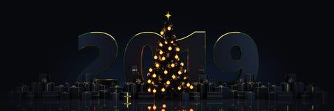 Kerstboom met Giften, Kerstmisconcept 2019 royalty-vrije illustratie