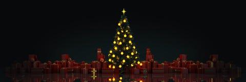 Kerstboom met Giften, Kerstmisconcept 2019 stock illustratie