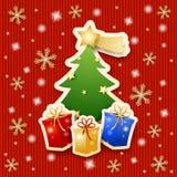 Kerstboom met giften op gebreide achtergrond Royalty-vrije Stock Foto's