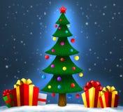 Kerstboom met giften op sneeuw Kerstmis en Nieuwjaar Stock Afbeelding