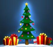 Kerstboom met giften op sneeuw Kerstmis en Nieuwjaar Royalty-vrije Stock Foto's