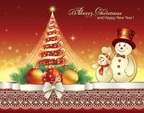 Kerstboom met glanzende ster Stock Foto's
