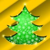 Kerstboom met gouden grens, sneeuwvlokken en fonkelingen Stock Fotografie