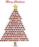 Kerstboom met harten stock afbeeldingen