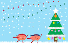 Kerstboom met hersenenviering Stock Foto