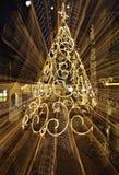 Kerstboom met het lightpainting Stock Foto's