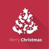 Kerstboom met lange schaduwvector Stock Afbeeldingen