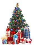 Kerstboom met licht en groepsgiftdoos. stock afbeelding